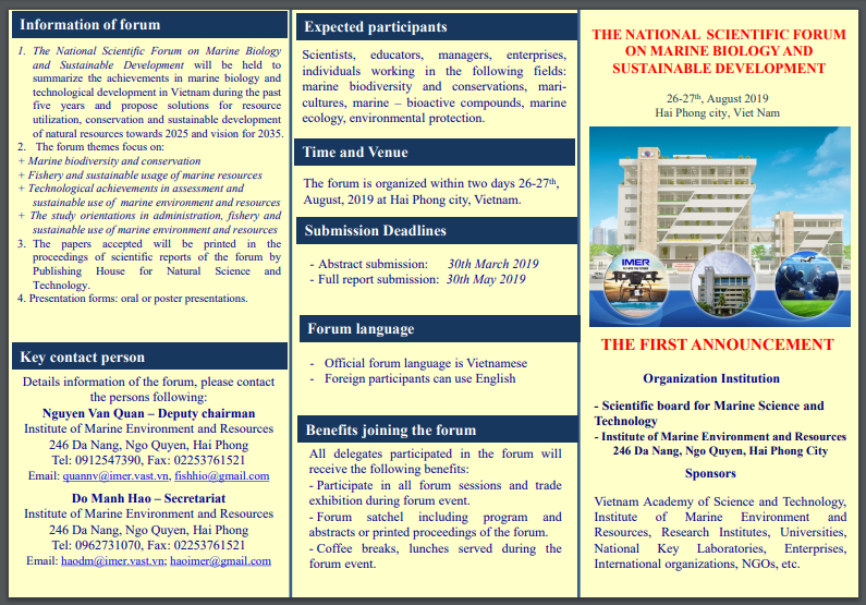 The national scientific forum on marine biology and