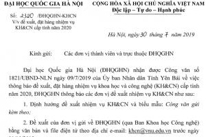 Thông báo về việc đề xuất đặt hàng nhiệm cụ KH&CN cấp tỉnh năm 2020 của UBND tỉnh Yên Bái